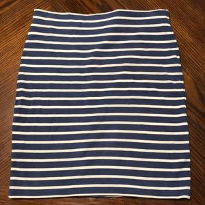 Ann Taylor loft blue and white striped skirt